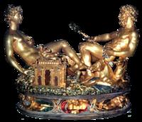 Saltcellar, Benvenuto Cellini, Gold/enamels, 1543, Italian